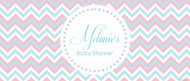 Personalized baby shower banner - pink & blue chevron theme - Australian business