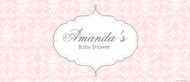 Custom baby shower banners - pink damask theme - fast delivery