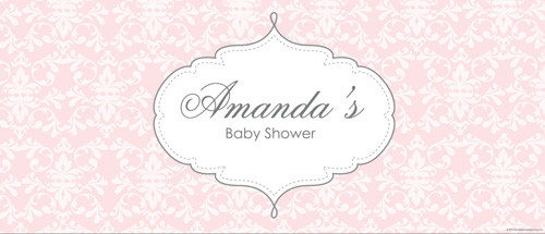 Custom baby shower banners, posters and backdrops - pink damask theme - fast delivery - Printed in Melbourne Australia