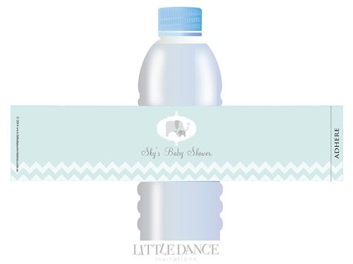 Green Elephant theme personalised & custom baby shower water bottle labels for sale. Order online in Australia