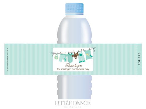 Green Clothesline theme personalised & custom baby shower water bottle labels for sale. Order online in Australia