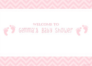Custom girl baby shower banners and posters - pink footprints girl baby theme - order pink baby shower decorations online in Australia