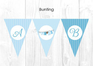 Blue Baby Clothesline Baby Shower Party Personalised Bunting Flag Decorations