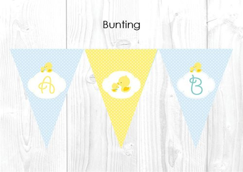 Little Yellow Duck on Blue Polka Dot Baby Shower Party Personalised Bunting Flag Decorations