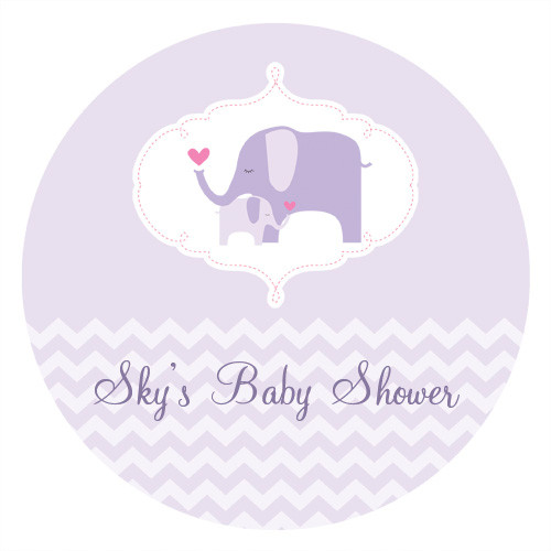 Lilac Elephant Personalised Cake Baby Shower Icing - Personalised Edible Image - Made in Melbourne Australia