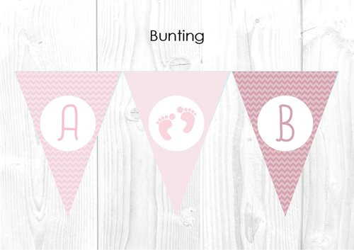 Pink Footprints Themed Baby Shower Personalised Bunting Flag Decorations