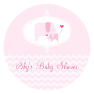 Pink Elephant Baby Shower Personalised Cake Icing