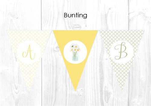 Daisy Themed Baby Shower Personalised Bunting Flag Decorations
