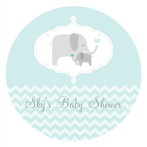 Mint Elephant Baby Shower Edible Cookie, Cupcake & Cake Icing. Personalised. Made in Australia.
