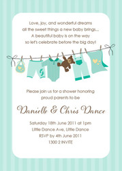 Green Baby clothesline Baby Shower Invitations