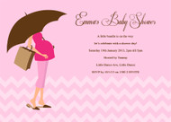 Personalised girls baby shower invitations featuring a Mummy to Be, on a lovely pink background. Printed in Australia.