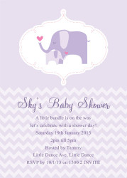 Purple Lilac Baby Elephant Baby Shower Invitations