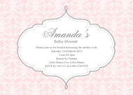 Pink Damask Baby Shower Invitations