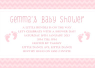 Personalised girls baby shower invitations featuring cute little baby footprints, on a pretty pink background. Printed in Australia.