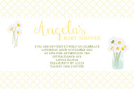 Personalised boys or girls gender neutral baby shower invitations featuring pretty daisies, on a lovely yellow  background. Printed in Australia.