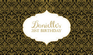 Personalized & custom adults birthday party banner or backdrop with black & gold damask effect for sale online in Australia.
