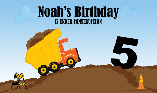 Personalized & custom boys birthday party banner or backdrop. Construction truck theme. For sale online in Australia.