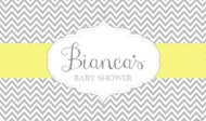 Baby shower backdrop or banner. Grey and yellow chevron theme. Australian supplier