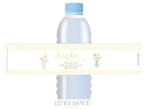 Daisy theme personalised & custom baby shower water bottle labels for sale. Order online in Australia
