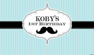 Personalized birthday party banner or backdrop - Little Moustache Man design. Buy online in Australia