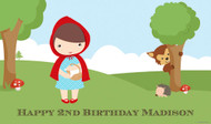 Personalized birthday party banner or backdrop - Little Red Riding Hood design. Order online in Australia