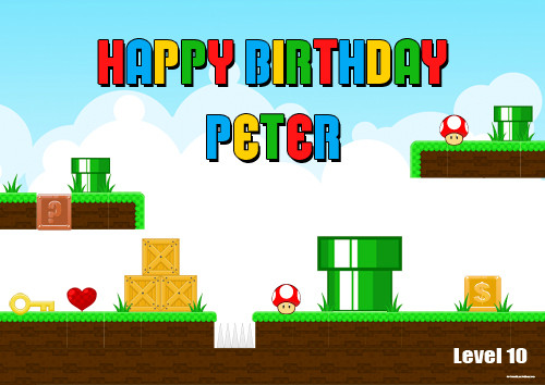 Personalized birthday party banner or backdrop - Mario inspired design. For sale online in Australia