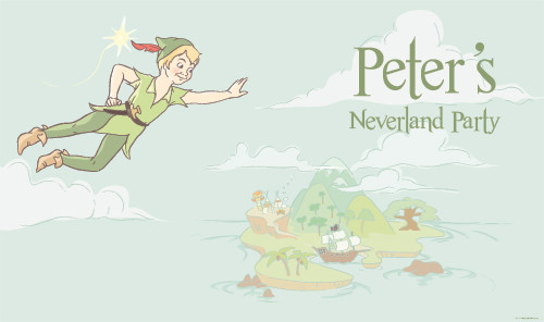 Personalized & custom kids birthday party banner or backdrop. Your message and text. Peter Pan Neverland theme.