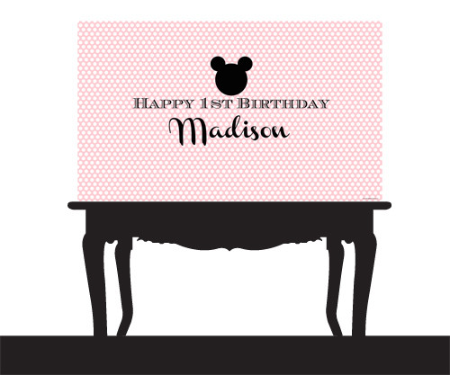 Personalized & custom adults or kids birthday party banner or backdrop. Your message and text. Pink polka mouse earstheme.