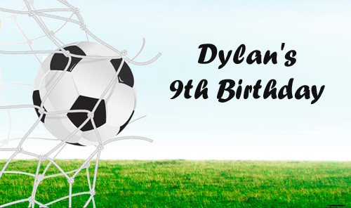 Personalized & custom adults or kids birthday party banner or backdrop. Your message and text. Soccer party theme.