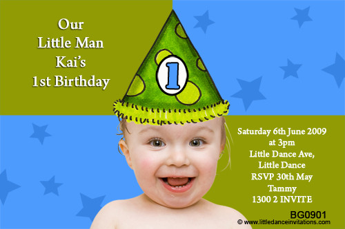 Boys Party Hat Birthday Party Invitations