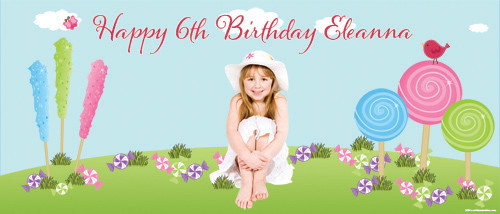 Candyland Personalised Birthday Party Banner.