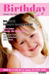 Girls Magazine Style Birthday Party Invitations