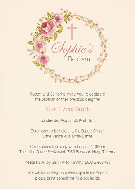 Vintage Floral Christening Baptism and Naming Invitations