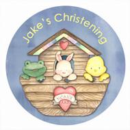 Personalised baptism or christening labels - Noah's Ark theme. For sale online - order online