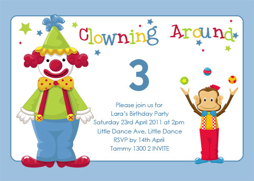 Clown Themed Birthday Invites For Sale