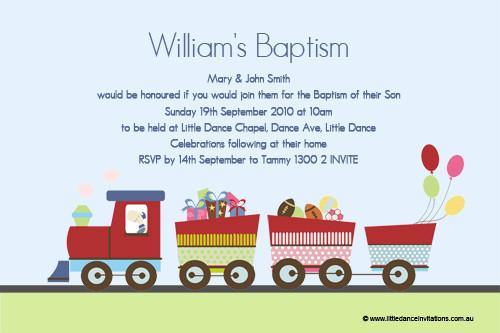 Baptism Invitations Train Themed Cartoon Train Themed