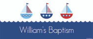 Custom wide format christening welcome banner. Nautical theme. Buy or order online